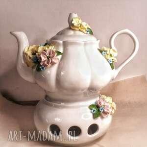 ceramika kwiatowy dzbanek, imbryk, kawa herbata, ceramika, kwiaty