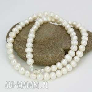naszyjnik perły naturalne - naszyjnik, perły, naturalne, sznur, srebro