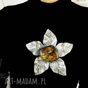 naszyjniki duży kwiat wisior srebro i bursztyn bałtycki unikat rękodzieło