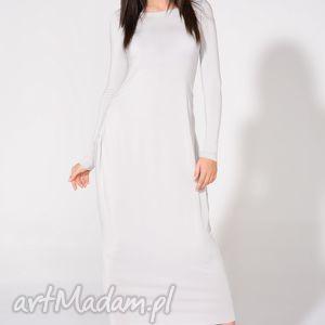 Sukienka maxi, T143, jasnoszara, sukienka, dzianina, wiskoza, luźna