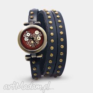 Prezent Bransoletka, zegarek - Steampunk Heart czarny, nity, skórzany, bransoletka