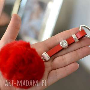 breloki skórzany brelok do kluczy fluffy cristal czerwony