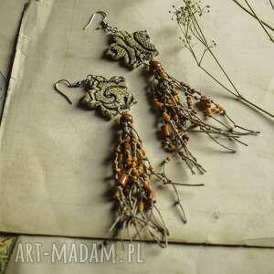 lniane kolczyki w jesiennych kolorach, kolczyki, wiszące