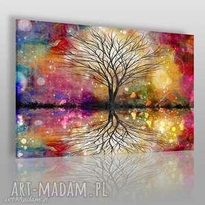 obraz na płótnie - drzewo kolorowy 120x80 cm 64901, drzewo, kolory