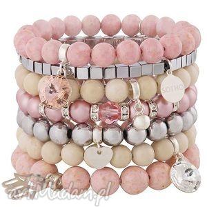 handmade bransoletki zestaw modowych bransoletek ping & nude & silver komplet fashion kamienie perły kryształy swarovski