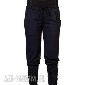 navahoclothing czarne luźne spodnie baggy, dzianina, ściągacz i kieszenie