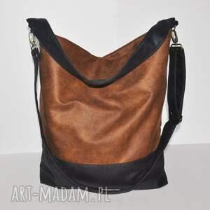 wyjątkowy prezent, torba hobo xl - koniakowa, hobo, worek, wegańska