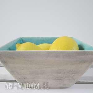 kwadratowa miseczka z turkusem, nowoczesna, miska, ceramiczna, modernistyczna