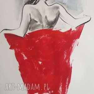 chusta, duży obraz kobieta, duża grafika czerwona grafika, zmysłowy