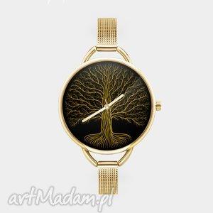 Prezent Zegarek z grafiką ZŁOTE DRZEWO, życie, korzenie, prezent, dla, niej, konary