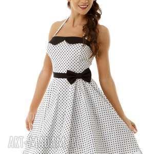 sukienki piękna rozkloszowa sukienka pin up biała w groszki, retro