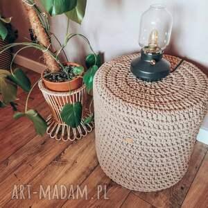 ręczne wykonanie pufa pleciona siedzisko ze sznurka stolik boho