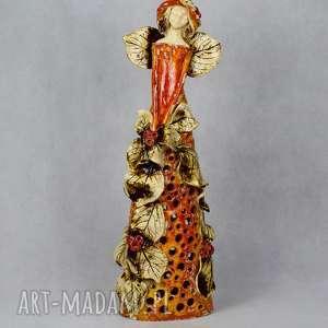 ceramika anioł lampion ceramiczny jesienny styl, ceramiczny, lampion, w