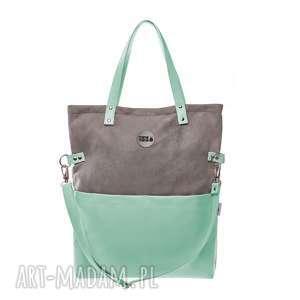torba damska cube grey mint, na ramie, do pracy, szkoły, torebka