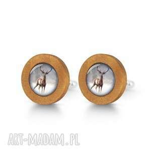handmade spinki do mankietów jeleń 2 - drewniane