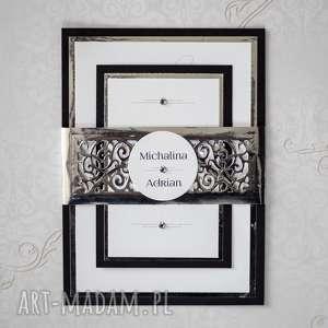 Zaproszenia z ażurową opaską, zaproszenia, jednokartkowe, eleganckie, oryginalne