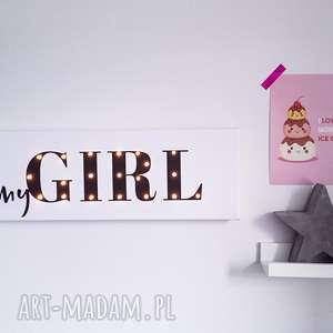 Prezent ŚWIECĄCY NAPIS LED - myGIRL prezent dla dziewczynki, roczek, urodziny