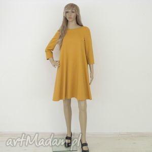 7 - sukienka musztardowa, sukienka, rozkloszowana, trapez, mini, elegancka, sukienki