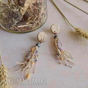 kolczyki boho z lnianym sznurkiem, boho, biuteria, długie