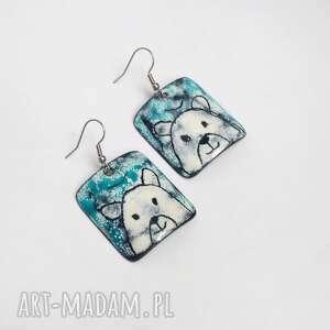 niedźwiedzie polarne kolczyki emaliowane, polarne, zima, śnieg
