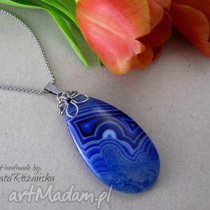 handmade wisiorki duży wisior agat niebieski plaster, wire wrapping, stal chirurgiczna