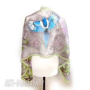 ręcznie wykonane chustki i apaszki apaszka jedwabna z tawułką sroką malowana na szalu