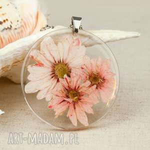 Prezent z138 Naszyjnik z suszonymi kwiatami, medalion kwiatem, kwiaty w żywicy