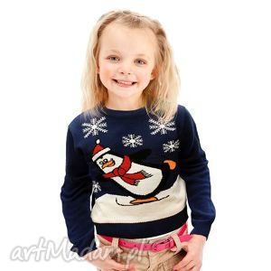 sweterek świąteczny dziecięcy - pingwinek, śmieszny, zabawny