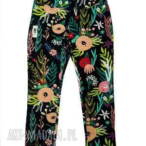legginsy flowerbomb, spodnie, legginsy, getry, kwiaty, łąka, bawełna