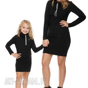 mama i córka sukienka dla córki ld7 1 - sukienka, dresowa, komin, zsznureczkiem