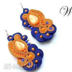 kolczyki sutasz pomarańczowo kobaltowe, sutasz, kolczyki, eleganckie, wesołe, modne