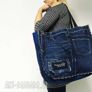 duża torba upcykling jeans 9 mustang od majunto, upcykling, torba, wielka
