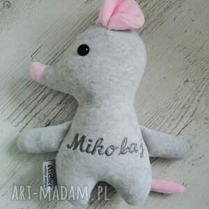 hand-made maskotki przytulanka dziecięca myszka z imieniem