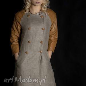lniany płaszcz eko moda - płaszcz, eko, skórka, len, popjedynczy
