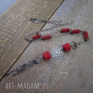 Koral - naszyjnik z kwiatem, srebro, koral,