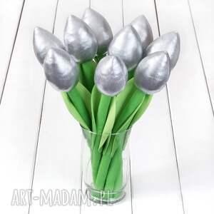 Prezent TULIPANY srebrny bawełniany bukiet, eleganckie, tulipany, prezent, bukiet