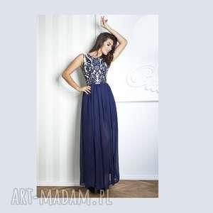 sukienki sukienka alexa ii maxi granat, maxi, wieczorowa, granatowa, koronka, tiul