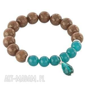BROWN & SEA-GREEN JADE WITH DROP. - ,jadeit,morski,kropla,