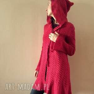 czerwony bawełniany płaszcz kardigan z kapturem, sweter, dzianina, bawełna
