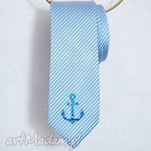 krawat marynistyczny, krawat, nadruk, kotwica, morski, niebieski