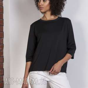 Luźna bluzka-frak, BLU140 czarny, bluzka, casual, frak, luźna, bluza, elegancka