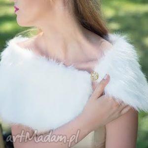 biała etola slubna z futra, etola, futro, fur, ślub, biały, fox