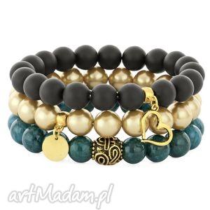 black,golden dark emerald set, jadeit, perła, serce, moneta
