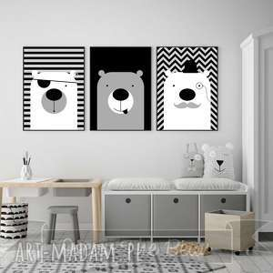 Zestaw plakatów Trzy urocze Misie w formacie A4, miś, misie, czarno-biały, obrazki