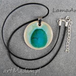 ceramiczny wisioer okrągły, wisiorek, zawieszka, naszyjnik, ceramiczny, biżuteria