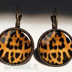 gepard - duże kolczyki wiszące - cętki, prezent