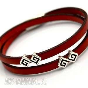 bransoletka skórzana magnetoos double grekio red, bransoletka, skóra, rzemień