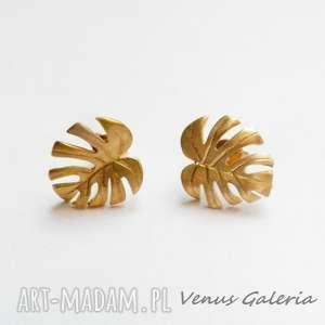 Złota monstera mała - kolczyki srebrne venus galeria kolczyki
