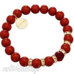 czerwona bransoletka perły red coral kryształy swarovski®