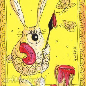 hand-made scrapbooking kartki króliczek z pędzelkiem